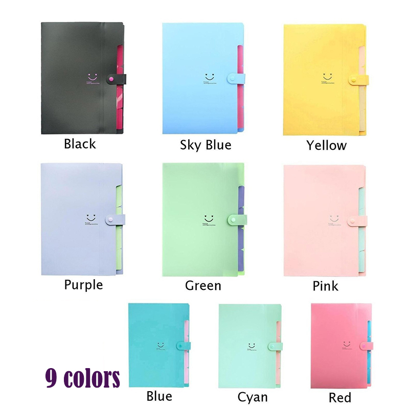 9 Colors/Pack  Waterproof A4 File Document Bag Pouch Bill Folder Holder Organizer