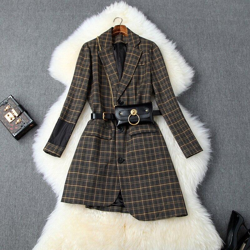 Plaid Women Blazers And Jackets Vintage Long Sleeve Irregular Blazer Femme 2019 Belted Autumn Coats Female British