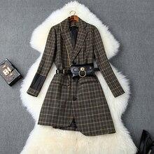 Plaid Women Blazers And Jackets Vintage Long Sleeve Irregular Blazer
