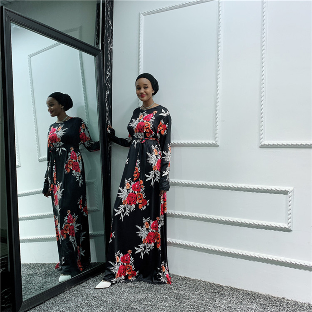 Floral Abaya Dubai Hijab Muslim Dress Women Islam African Saudi Arab Turkish Dresses Kaftan Caftan Qatar Omani Islamic Clothing