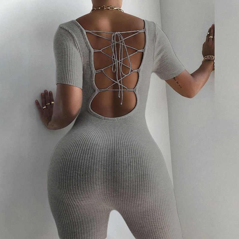 Spor örgü kaburga Backless bandaj tulum yaz gri siyah spor kısa kollu bisikletçinin şort Bodycon tulum kadın tulum