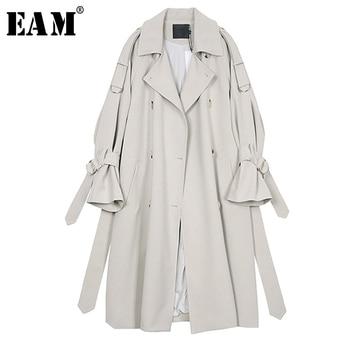 [EAM] 2020 New Spring Autumn Lapel Long Sleeve Gray Waist Bandage Big Size Long Windbreaker Women Trench Fashion Tide JR677
