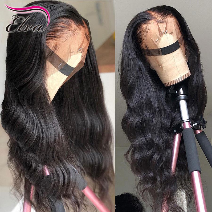 Vague de corps 13x6 dentelle avant perruques de cheveux humains Elva pré plumé délié avec des cheveux de bébé brésilien dentelle avant perruques pour les femmes noires