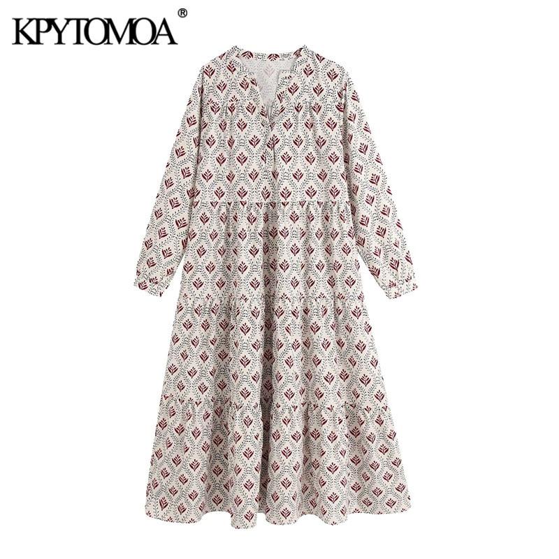 KPYTOMOA Women 2020 Chic Fashion Print Pleated Loose Midi Dress Vintage V Neck Long Sleeve Female Dresses Vestidos Mujer