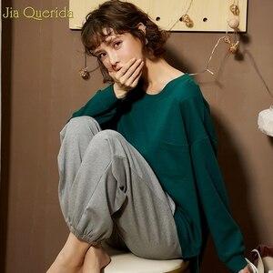 Image 5 - Pijamas de outono feminino conjunto de pijamas de lazer das mulheres ternos de algodão em casa usar tamanho solto estudante menina roupa de casa nova pijamas mujer