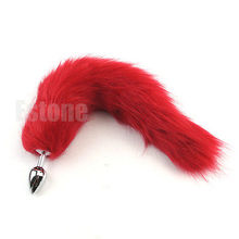 New Romance 38cm Long Red Fox Tail Butt Metal Anal Plug Sex Toy #E015C#