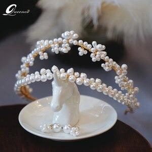 Corona de boda Diadema Corona Diademas Coroa Ali perla pelo joyería de Tiara bisutería novia accesorios para el cabello para niñas Diadema Sposa