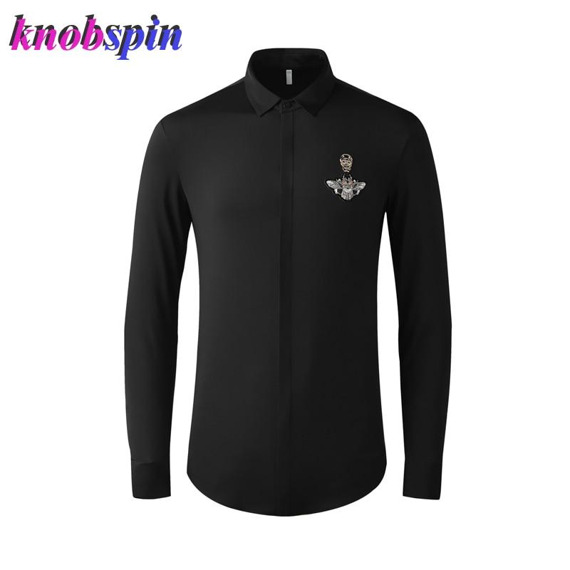 Luxury Business Male Dress Shirt Men Skull Head Long Sleeve Slim Mens Shirts Turn over Collar Solid Camisas Plus Size Shirts