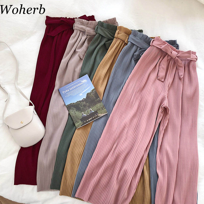 Woherb Korean Autumn Wide Leg Pants Women Casual High Waist  With Bow Belt 2020 New Pleated Pant Trousers Femme 21057