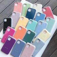 Funda de silicona con logotipo oficial para iPhone, carcasa Original con logotipo para iPhone 11 Pro, XS Max, X, XR, 12, Mini, 7, 8, 6, 6S Plus, SE 2020