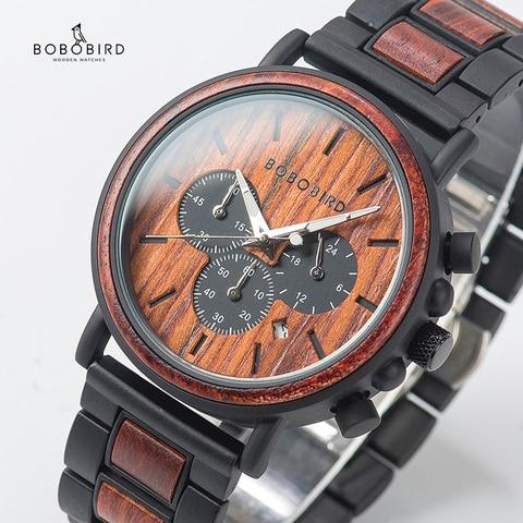 relogio Wood Watches  BOBO BIRD Men Watch Date Display Luxury Golden Stylish Wooden and Metal Quartz Wristwatch Wood gift box Karachi