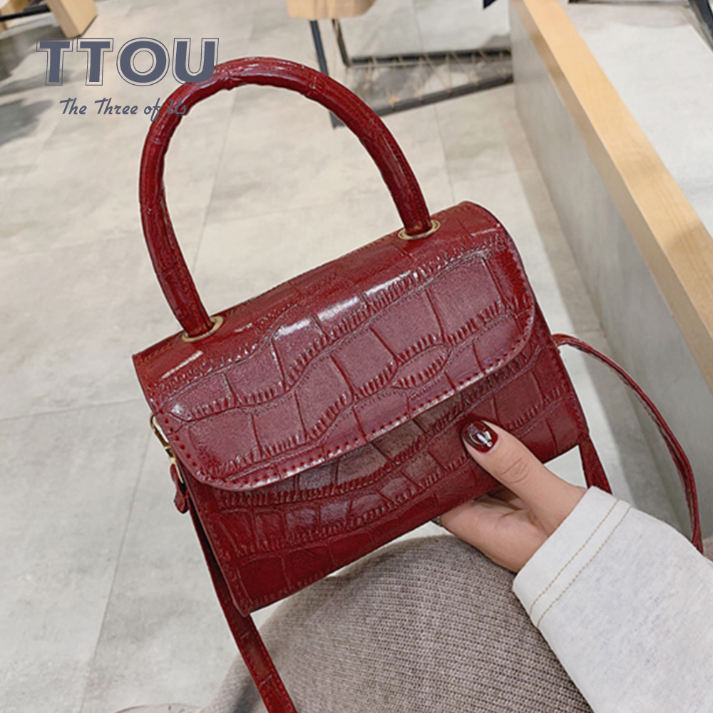 Casual Solid Shoulder Bags New Quality PU Leather Women Bag Crocodile Pattern Ladies Luxury Shoulder Messenger Bag Sac A Main