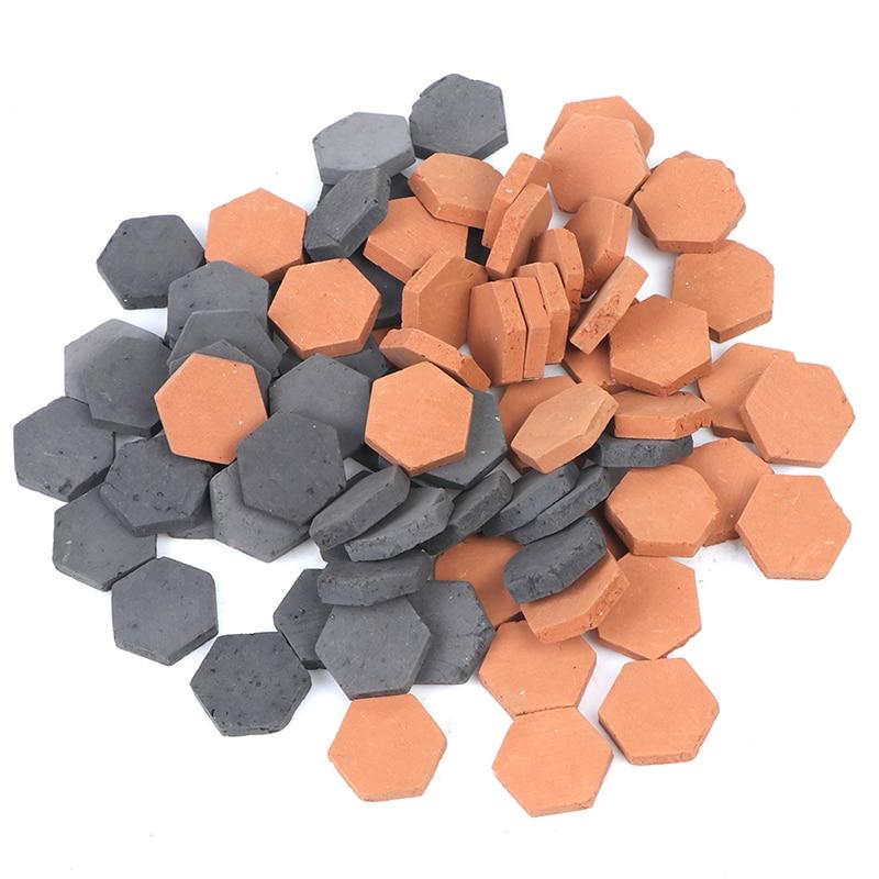 40 pces 1/16 escala simulação miniatura hexágono vermelho tijolo modelo brinquedo