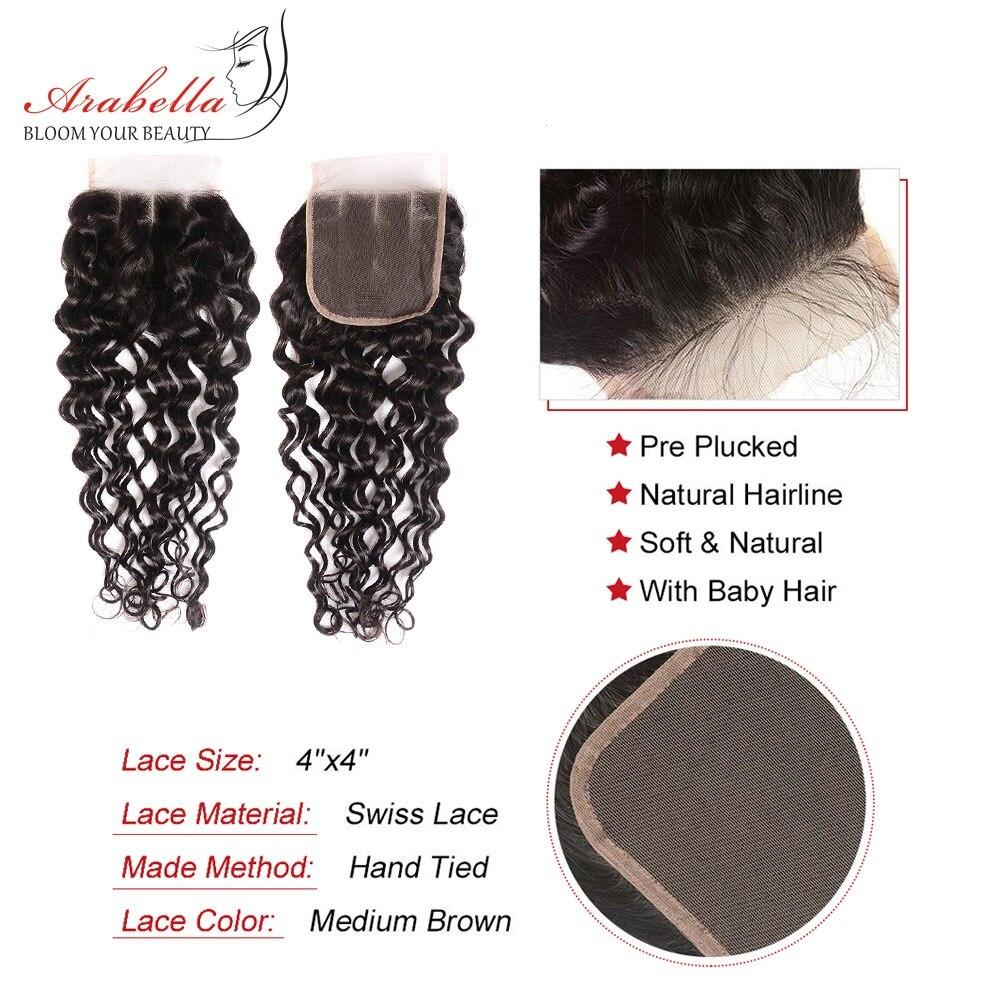 Super Double Drawn Water Wave Hair Bundles With Closure Pre Plucked Bleached Knots Arabella Virgin Hair  Bundles 5