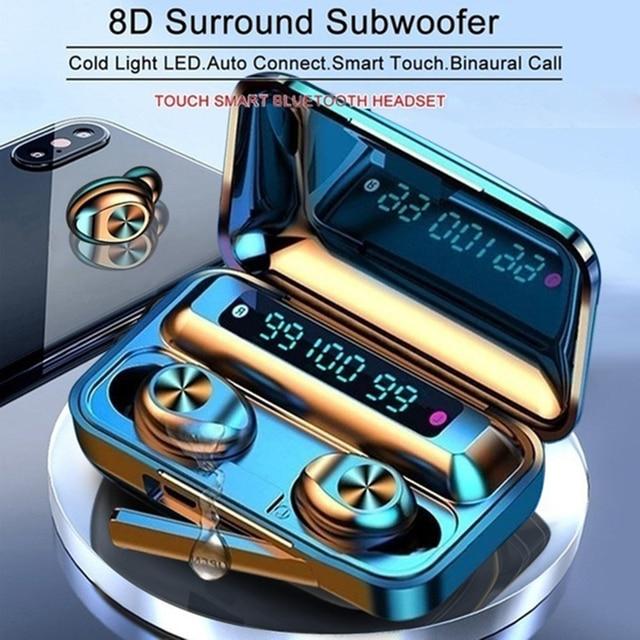 חדש F9 TWS Bluetooth אוזניות 5.0 טעינת תיבה עמיד למים אלחוטי אוזניות 8D סטריאו ספורט אוזניות Microphoe עבור טלפון חכם