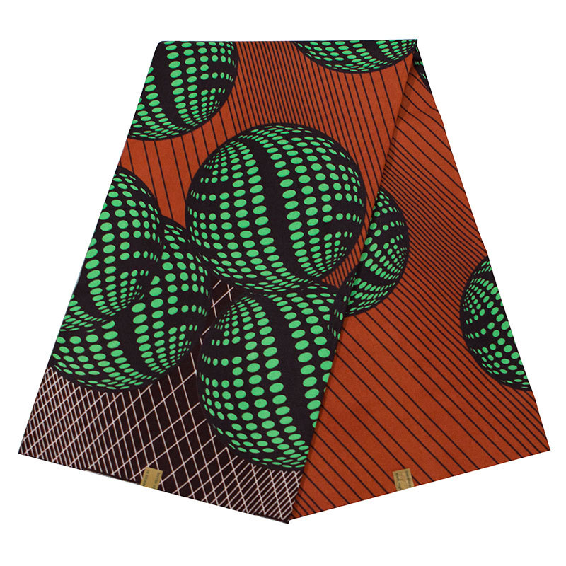 Latest Arrivals Brown 100% Polyester Green Ball Pattern Printed Real Wax High Quality Dutch Wax African Fabric