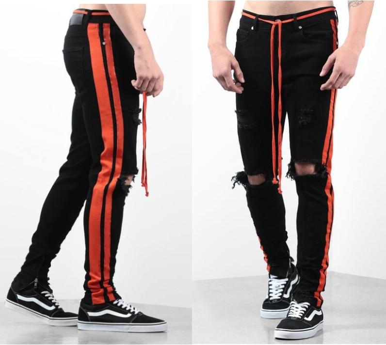 Side Red Stripe For Men Skinny Pencil Jeans Big Knee Holes Slim Fit Distressed Denim Trousers Biker Hiphop Man Male Stretch Jens