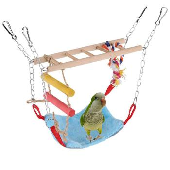 Bird Wood Climb Ladder Warm Hammock Hanging Bed for Parrot Budgie Parakeet Cockatiel Conure Lovebird Cage Perch