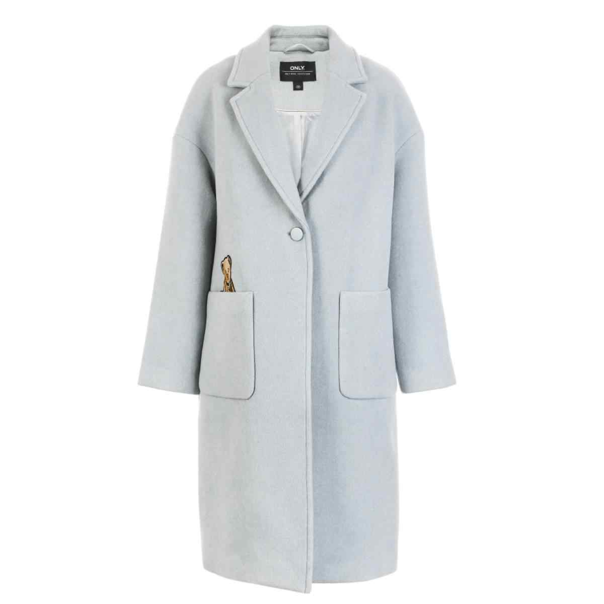 ONLY Women Straight Fit Embroidered Pocket One-button Wool Coat Overcoat| 11834S542