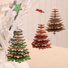 Ozdoby świąteczne 3D drewniana gwiazda wisiorki płatki śniegu drzewo wiszące ozdoby bożonarodzeniowe na dom nowy rok Navidad Xmas 2021 tanie tanio g-221 new Year decoration noel christmas decorations for home christmas ornaments