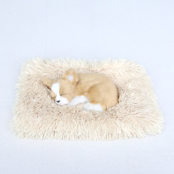 Super comfortable and soft pet bed kennel square cat nest long plush dog cushion mat portable cat supplies image