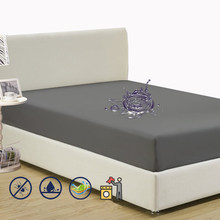 Waterproof Solid Fitted Sheet King Queen Full Twin Single Size Mattress Cover With All-Around Elastic Rubber Band Bed Sheet