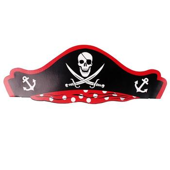 24pcs Paper Hat Skull Pattern Pirate Theme Decorative Halloween Party Supplies For Birthday Cartoon Hats