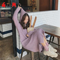 GareMay casual hooded knitted dress winter women's maxi Sweater Dress warm Long loose Long thick long sleeve purple dress female