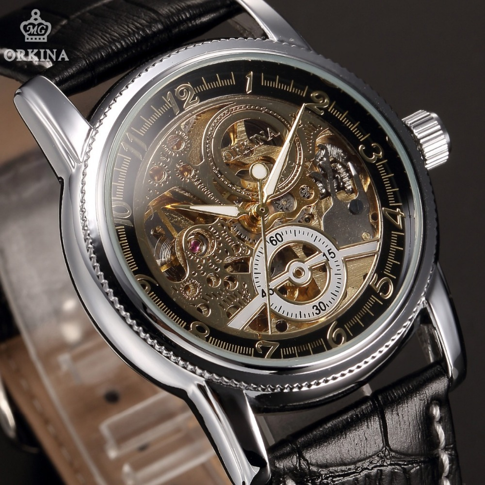 ORKINA Automatic Watches Gold Case Hollow Engraving Men's Mechanical Watch Genuine Leather Strap Wristwatch Man Skeleton Watch thumbnail