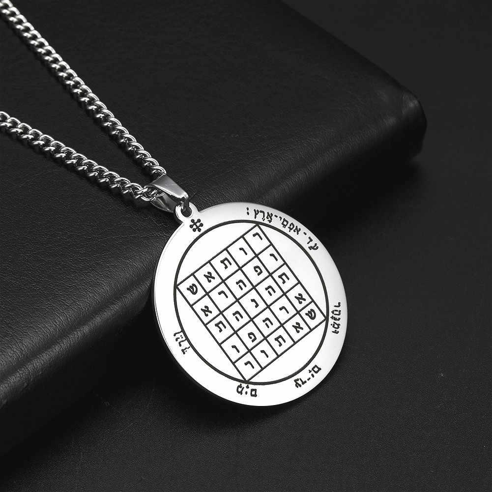 Dawapara pentagram saturna przyciągający pieniądze biznes wisiorek talizman naszyjnik Unisex biżuteria ze stali nierdzewnej