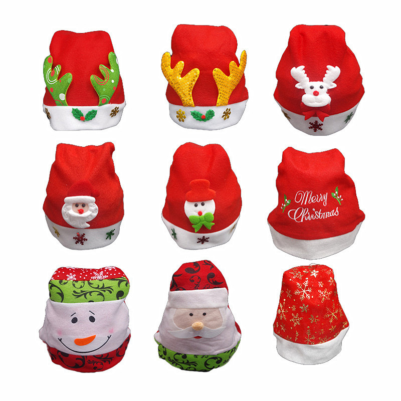 Merry Christmas Hat Ornaments Decoration For Adult Kids Xmas Santa Claus Deer Smowman Warm Cap New Year Christmas Party Hats