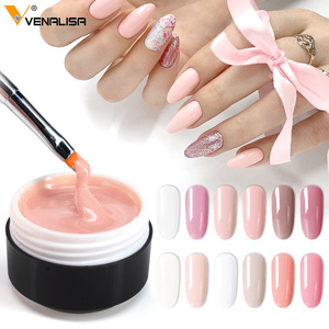 Venalisa supply 15 ml strong thin Jelly led UV soak off cover pink clear nail art Camouflage UV Builder gel Extend nail gel(China)