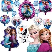 Congelado princesa elsa anna princesa balões de folha de alumínio crianças decoração de festa de aniversário de dupla face balão de capina decoração