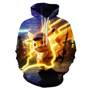 2020 New Men's Hooded Sweatshirt 3D Anime Pikachu Fashion Couple Casual Hooded Pullover Spring And Autumn Leisure Sports Tops