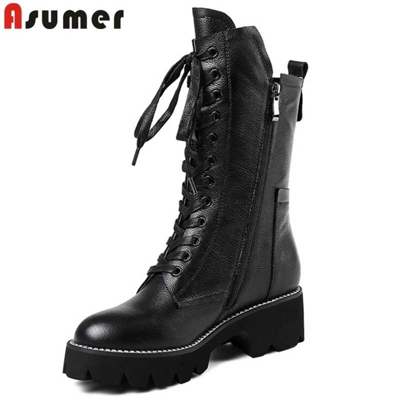 ASUMER black fashion autumn winter boots women zip cross tied mid calf boots square heel classic ladies genuine leather boots