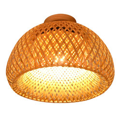 Chiński styl bambusowe lampy sufitowe Led Vintage Rattan lampa sufitowa salon ganek korytarz azji południowo-wschodniej oprawy oświetleniowe