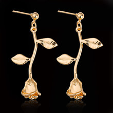 Fashion Rose Flower Women's Ear Studs Simple Elegant Girl Cute Earrings Wedding Party Gold Jewelry Accessories fanier new charm rose gold flag zircon four ear studs mode ladies simple temperature jewel ear ball recommended marriage ball