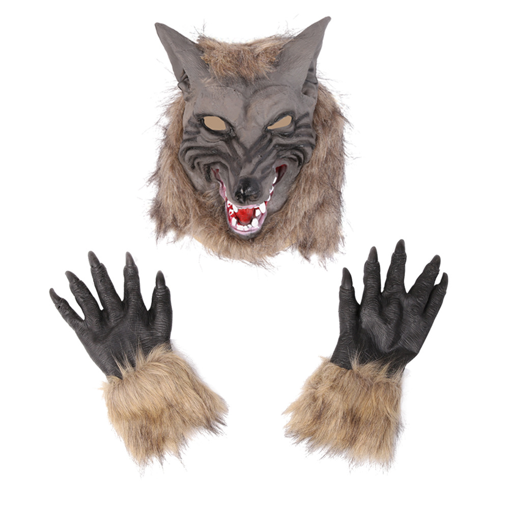 Halloween Creepy Wolf Costume Wolf Mask Werewolf Claws Set Gloves Terror Devil Fancy Headdress Prank Props Wolf Headgear Unisex