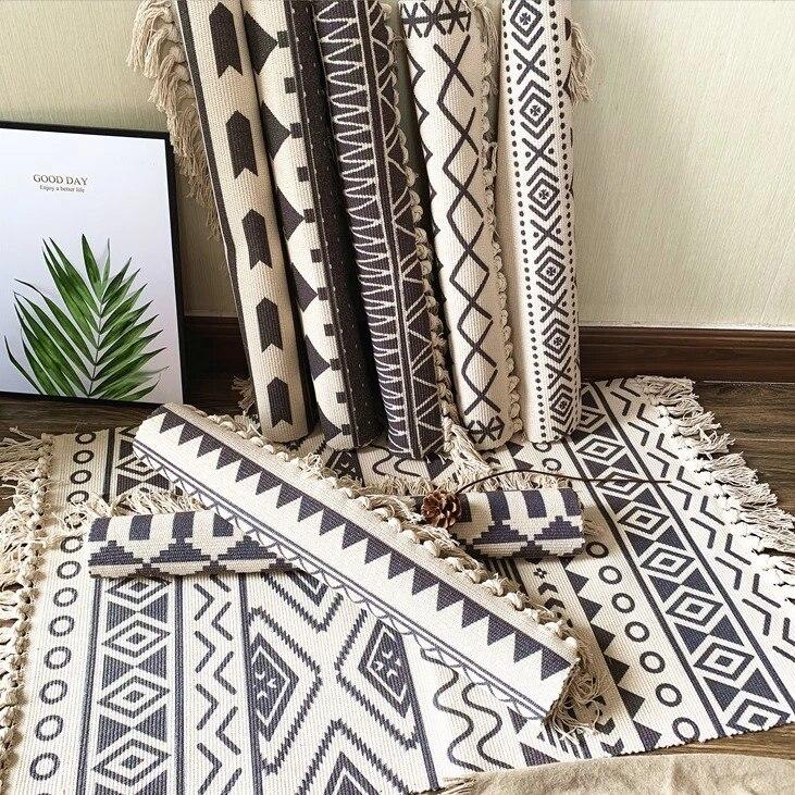 tapis de salon 100 coton style nordique bohemien kilim noir et blanc tapis geometrique indien a rayures tapis moderne design contemporain