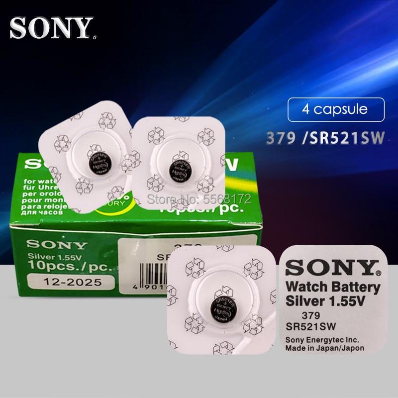 SONY 4Pcs/Lot Single Grain Packing Silver Oxide Watch Battery 379 SR521SW 521 1.55V LR521  Bottun Cell Batteries