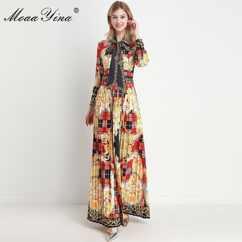 MoaaYina Fashion Designer dress Spring Autumn Women's Dress Long sleeve Vintage Plaid Print Elegant Maxi Dresses