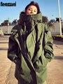 Nerazzurri Übergroßen armygreen schwarz zip up graben mantel für frauen mit kapuze langarm Lose frauen mode windjacke frauen