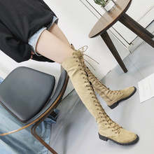 Sexy Lace Up Over Knee Boots Women rome style Boots Women Flats Shoes Woman suede long Boots Botas Winter Thigh High Boots 35-43(China)
