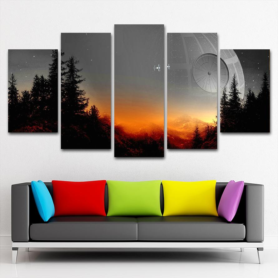 Modular Canvas Pictures Wall Art Framed 5 Pieces Star Wars Tree Death Star Painting Living Room Prints Movie Poster Home Decor image