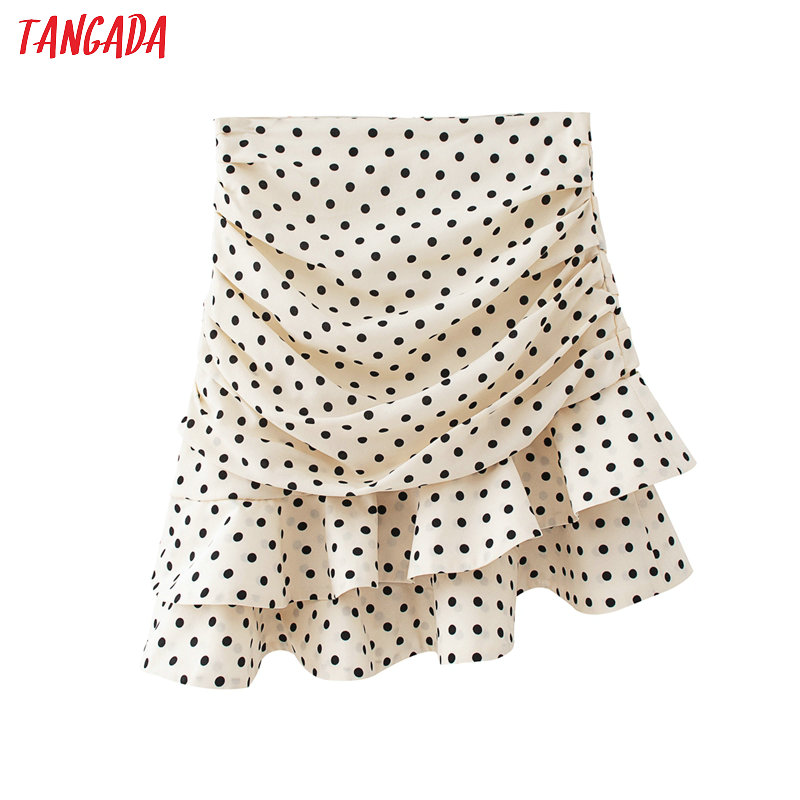 Tangada Women Dots Print Pleated Cake Skirt Faldas Mujer Vintage Side Zipper Office Ladies Elegant Chic Summer Skirts QJ45