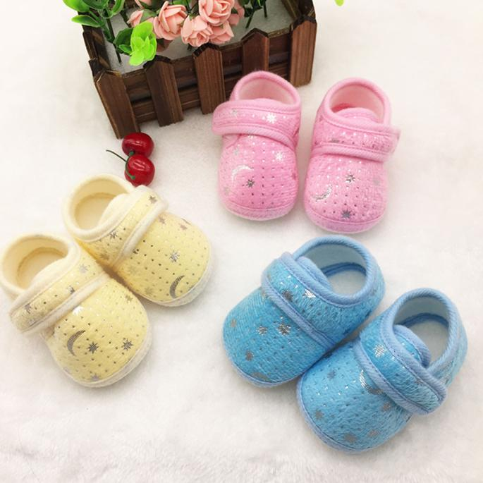Fashion Lovely Baby Toddler Shoes Baby Girls Boys Shoes Cotton Starry Sky Printed Anti-Slip Soft Purchasing Free Shipping H5