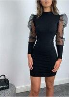Модные женские облегающие мини-платья, элегантные сетчатые прозрачные платья с длинным рукавом, обтягивающие женские платья, вечерние Клуб...