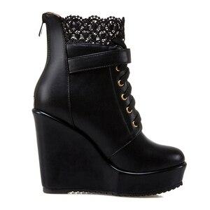 Image 4 - ハイヒールアンクルブーツ女性のためプラットフォームウェッジブーツ女性の秋の冬ショートブーツの靴黒、白bottinesファム