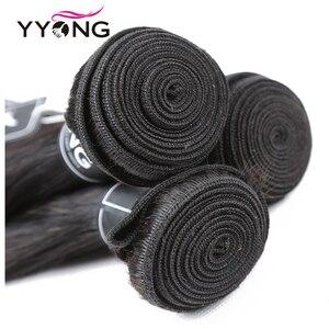 Image 3 - Yyong פרואני ישר שיער 3 חבילות רמי שיער טבעי הרחבות עם 4*4 תחרה סגירת כפול ערב לארוג חבילות עם סגירה