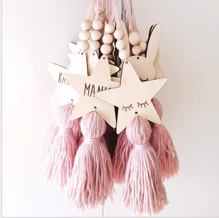 INS Nordic Style Children's Room Star Rabbit Wooden Beads Tassel Beaded Cartoon Hanging Decorative Wall Hanging Ornament Crafts